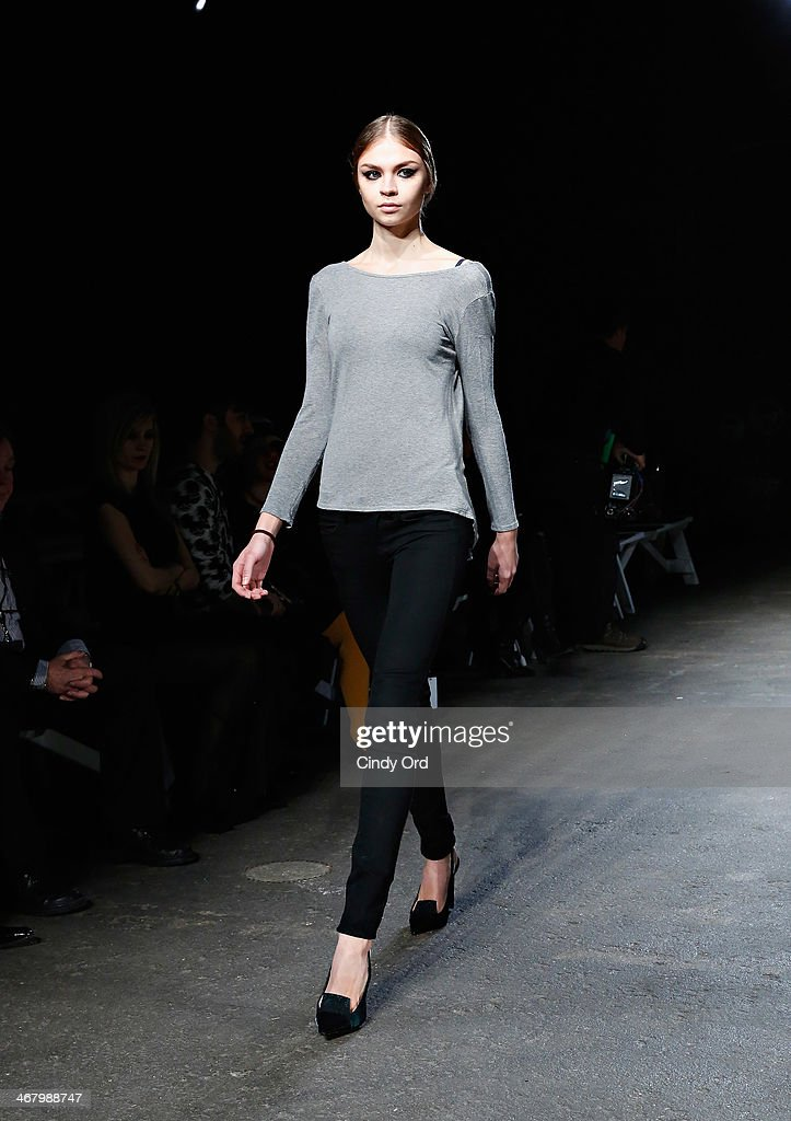 Models take part in a show rehearsal at the Christian Siriano fashion show during the Mercedes-Benz Fashion Week Fall 2014 at Eyebeam on February 8, 2014 in New York City.