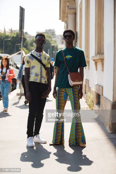 Models Tamsir Thiam and Ottawa Kwami after the Fendi show during the Milan Men's Fashion Week Spring/Summer 2020 on June 17 2019 in Milan Italy...