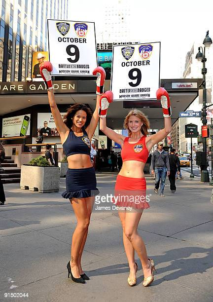 Models Tarale Wulff and Annmarie Nitti promote Battle of the Badges boxing tournament between NYPD and NYFD at Madison Square Garden on October 6...