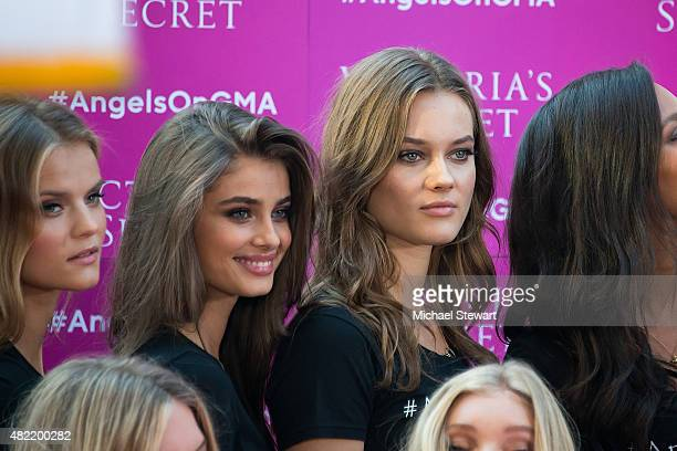 Models Taylor Hill and Jac Jagaciak attend the Body By Victoria's Secret Campaign Launch at Military Island Times Square on July 28 2015 in New York...