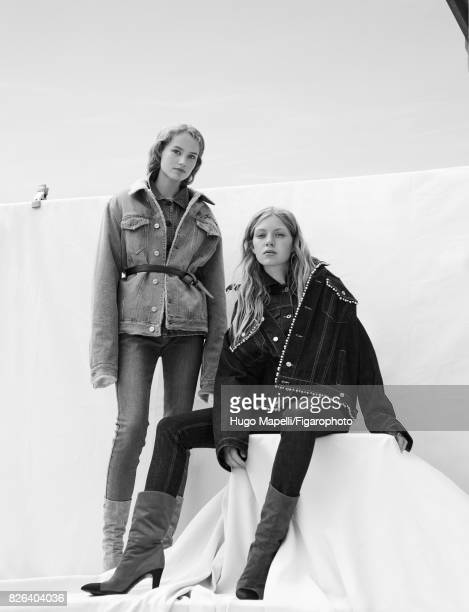 Models Tes Linnenkoper and Hanna Halvorsen pose at a fashion shoot for Madame Figaro on June 30, 2017 in Paris, France. Left: Jacket , jacket , jeans...