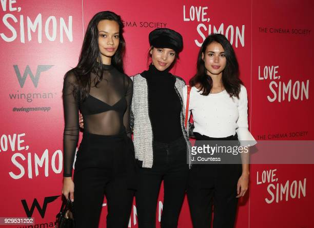 Models Thais Martins Melissa Martinez and Noria Neuva pose for a photo at the screening of 'Love Simon' hosted by 20th Century Fox Wingman at The...