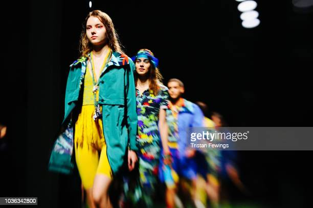 Models the runway at the Tiziano Guardini show during Milan Fashion Week Spring/Summer 2019 on September 20 2018 in Milan Italy