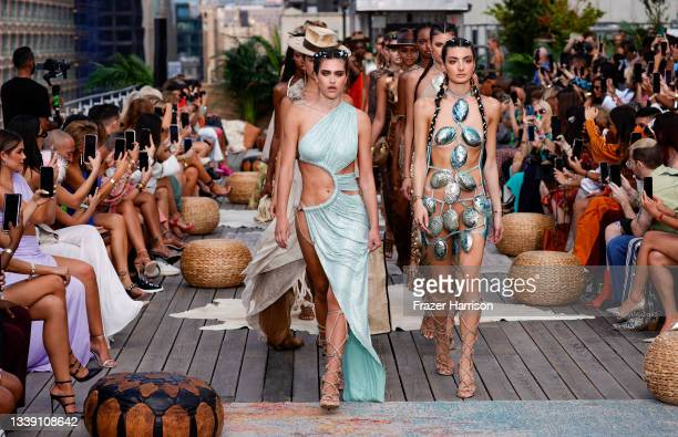 Models the runway for Bronx and Banco during NYFW: The Shows at Terrace at Spring Studios on September 08, 2021 in New York City.