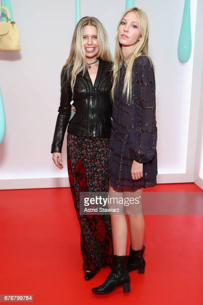 Models Theodora Richards and Ella Richards attend the launch of the Burberry DK88 Bag hosted by Christopher Bailey at Burberry Soho on May 2 2017 in...