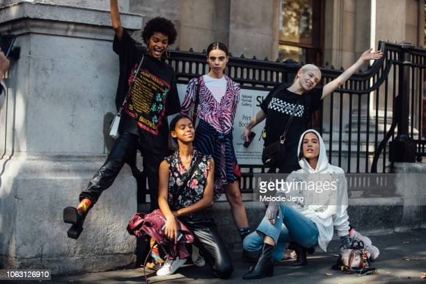 Models Theresa Hayes Massima Desire Hunter Schafer Alyssa Traore Dara Allen after the Erdem show during London Fashion Week September 2018 on...
