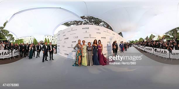 Models Toni Garrn Petra Nemcova Artistic Director and CoPresident of Chopard Caroline Scheufele models Jourdan Dunn and Kendall Jenner attend amfAR's...