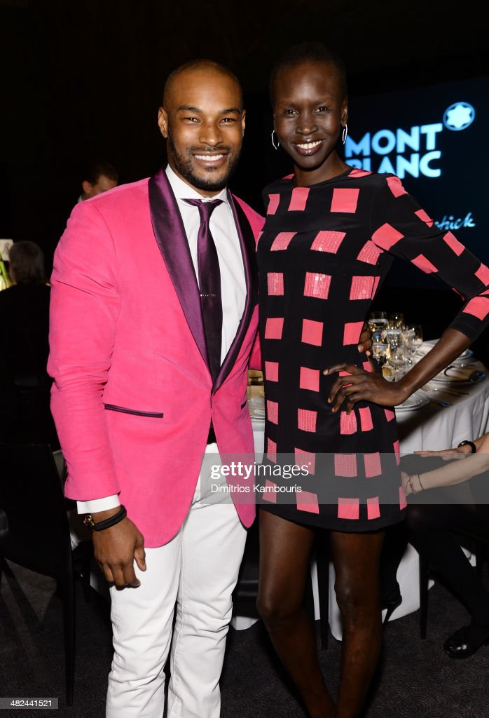 Models Tyson Beckford and Alek Wek attend Montblanc Celebrates 90 Years of the Iconic Meisterstuck on April 3, 2014 at Guastavino's in New York City.