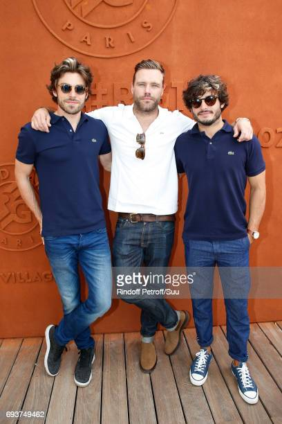 Models, Valentin D'Hoore, Nick Youngquest and Stefan Tisseyre attend the 2017 French Tennis Open - Day Twelve at Roland Garros on June 8, 2017 in...