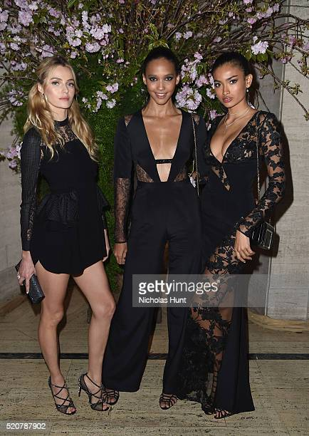 Models Valentina Zelyaeva Cora Emmanuel and Kelly Gale attend the Foundation Fighting Blindness World Gala at Cipriani 42nd Street on April 12 2016...
