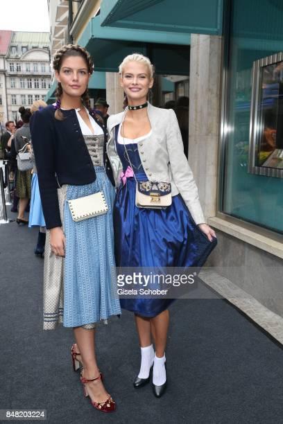 Models Vanessa Fuchs and Darya Strelnikova during the 'Fruehstueck bei Tiffany' at Tiffany Store ahead of the Oktoberfest on September 16 2017 in...