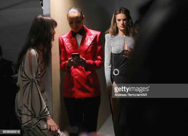 Models Vanessa Moody Lais Ribeiro and Alessandra Ambrosio are seen backstage at the amfAR Gala Cannes 2018 at Hotel du CapEdenRoc on May 17 2018 in...