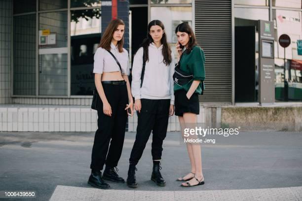Models Veronica Manavella Manu Miloqui Oyku Bastas after the Alyx show during Paris Fashion Week Mens Spring/Summer 2019 on June 24 2018 in Paris...