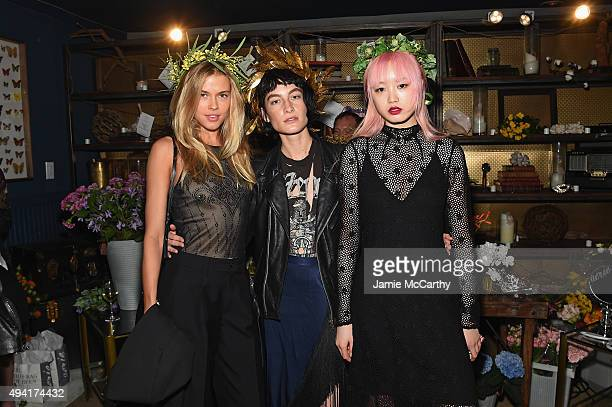 Models Victoria Lee Heather Kemesky and Fernanda Ly attend as Teen Vogue and Aerie celebrate Emma Roberts November Cover at 58 Gansevoort on October...