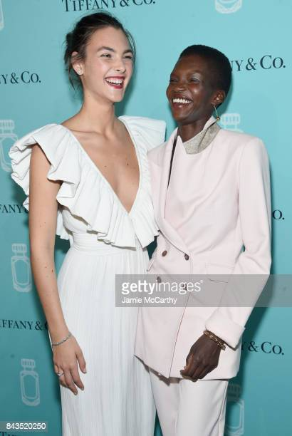 Models Vittoria Ceretti and Achok Majak attend the Tiffany Co Fragrance launch event on September 6 2017 in New York City
