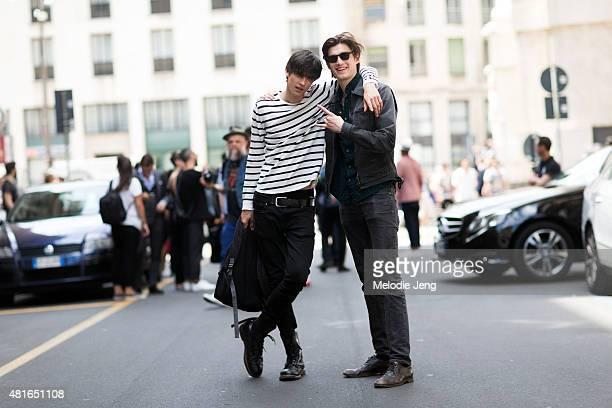 Models Vlad Blagorodnov and Alfons Miari after Ferragamo at Piazza Affari on June 21, 2015 in Milan, Italy.