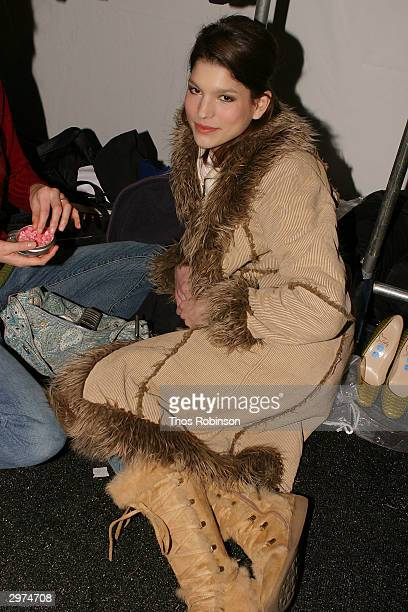 Models wait backstage at the Jeffrey Chow Fall 2004 during Olympus Fashion Week February 12 2004 in New York City
