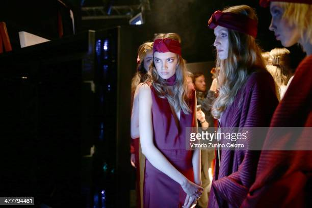 Models wait backstage at the Ozlem Ahiakin show during MBFWI presented by American Express Fall/Winter 2014 on March 11 2014 in Istanbul Turkey