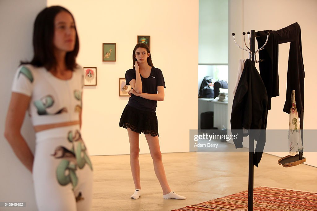 Models wait for the start of the Wendy & Jim show installation during Mercedes-Benz Fashion Week Berlin Spring/Summer 2017 at Galerie Crone on June 30, 2016 in Berlin, Germany.