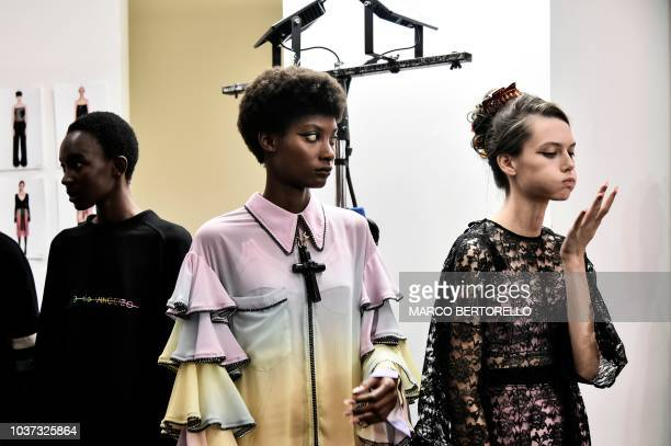 Models wait in the backstage prior to the presentation of Marco De Vincenzo fashion house during the Women's Spring/Summer 2019 fashion shows in...