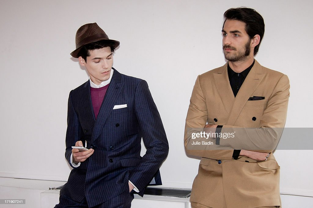 Models wait the launch of the Francesco Smalto Menswear Spring/Summer 2014 Show As Part Of The Paris Fashion Week on June 29, 2013 in Paris, France.