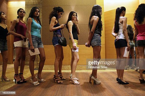 Models wait to appear before the judges during the Lakme Fashion Week/Summer Resort 2013 model auditions at Grand Hyatt Santacruz on January 29 2013...