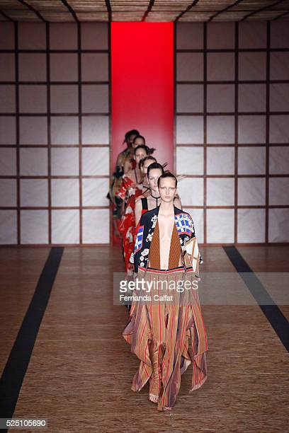 Models walk at Lenny Niemeyer Runway at SPFW Summer 2017 at Ibirapuera's Bienal Pavilion on April 27 2016 in Sao Paulo Brazil