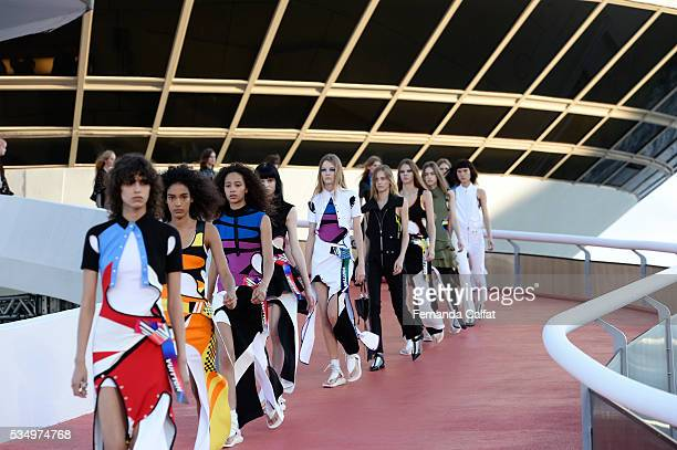 Models walk at Louis Vuitton 2017 Cruise Collection at MAC on May 28 2016 in Niteroi Brazil