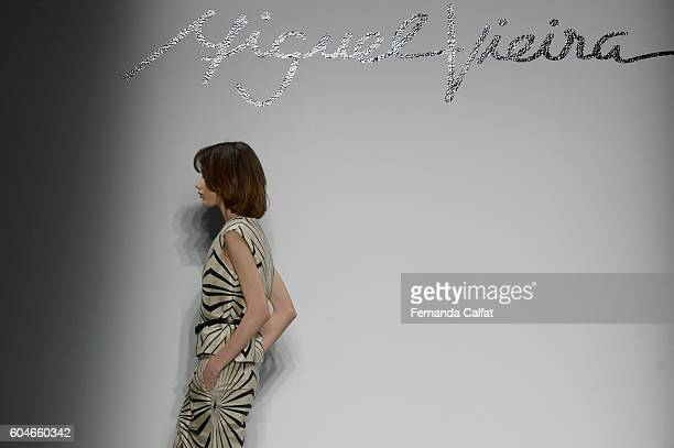 Models walk at Miguel Vieira Runway September 2016 at New York Fashion Week at Pier 59 Studios on September 13 2016 in New York City