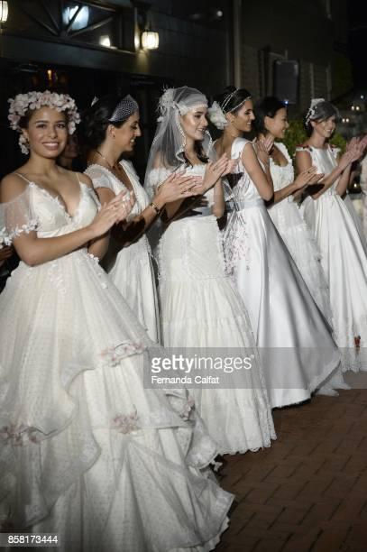 Models walk at Po de Arroz Runway at New York Fashion Week Bridal October 2017 at Hendrick's Tavern on October 5 2017 in Roslyn New York