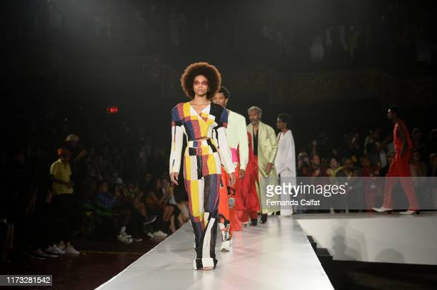 Models walk at the Pyer Moss Runway during New York Fashion Week at Pier 59 Studios on September 8, 2019 in New York City.