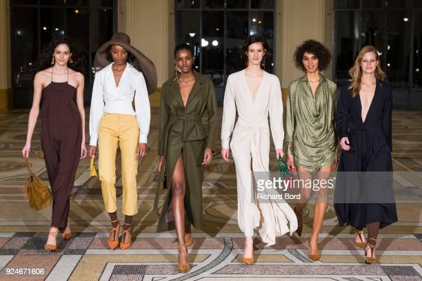 Models walk backstage prior to the Jacquemus show at Petit Palais during Paris Fashion Week Womenswear Fall/Winter 2018/2019 on February 26 2018 in...