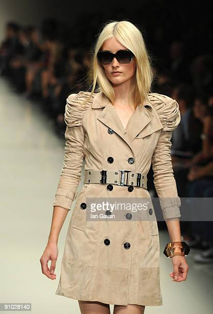 Models walk down the catwalk at the Burberry Prorsum Spring/Summer 2010 Show at Rootstein Hopkins Parade Ground during London Fashion Week on...