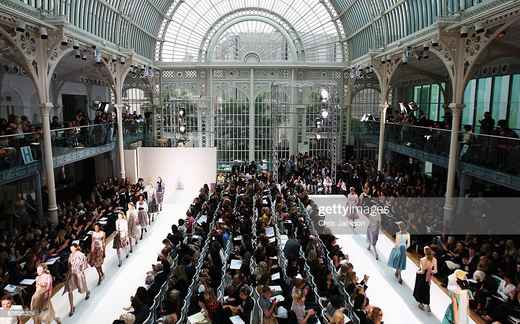 Models walk down the catwalk at the Royal Opera House during the Nicole Farhi LFW Spring / Summer 2009 show at London Fashion Week 2008 on September 16, 2008 in London, England.
