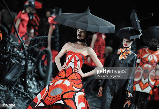 Models walk down the catwalk during the Alexander McQueen ReadytoWear A/W 2009 fashion show during Paris Fashion Week at POPB on March 10 2009 in...