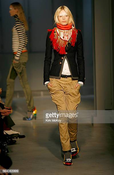 Models walk down the catwalk during the Balenciaga show TUESDAY February 27 2007 in PARIS FRANCE