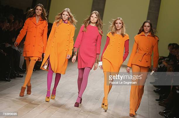 Models walk down the catwalk during the Emilio Pucci fashion show as part of Milan Fashion Week Autumn/Winter 2007 on February 22 2007 in Milan Italy