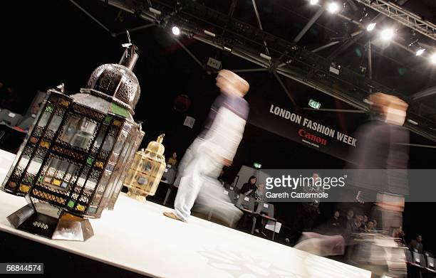 Models walk down the runway at the Ashley Isham fashion show as part of London Fashion Week Autumn/Winter 2006/7 at the Natural History Museum on...