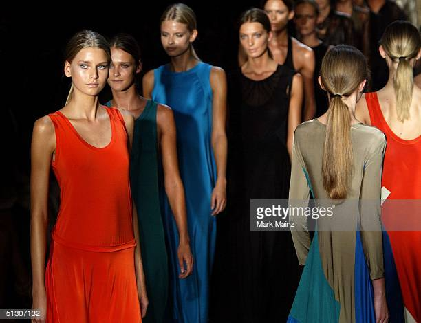 Models walk down the runway at the Calvin Klein Show during the Olympus Fashion Week Spring 2005 at the Milk Studios September 14, 2004 in New York...
