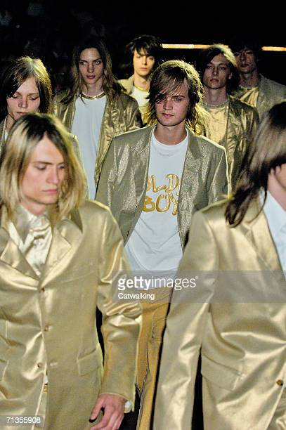 Models walk down the runway at the Comme des Garcons Homme Plus show as part of Paris Menswear Spring/Summer 2007 Collections on July 1, 2006 in...