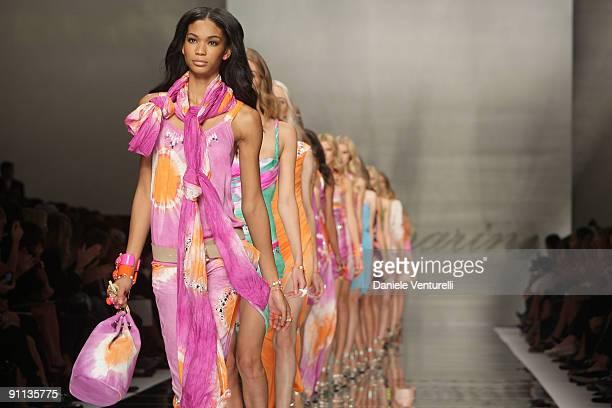 Models walk down the runway during the Blumarine Milan Womenswear Fashion Week Spring/Summer 2010 at the Milano Fashion Center at on September 25,...