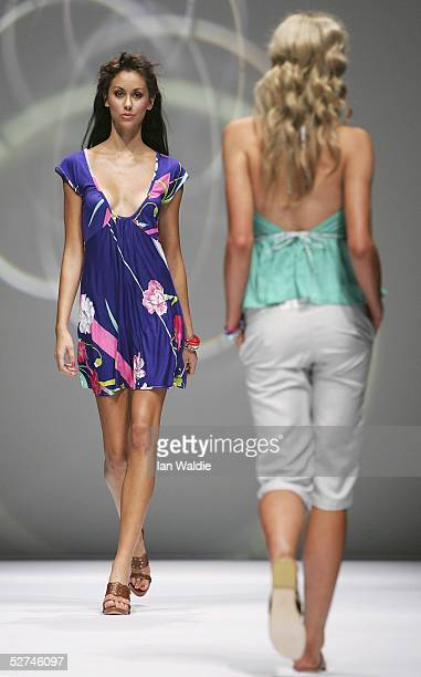 Models walk down the runway during the Ready to Wear show by Shakuhachi in the Harbour Room of the Overseas Passenger Terminal during Mercedes...