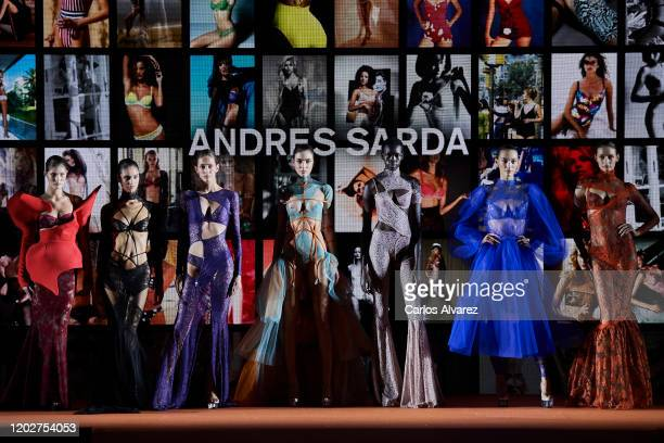 Models walk for Andres Sarda fashion show during the Mercedes Benz Fashion Week Autumn/Winter 2020-21 at Ifema on January 29, 2020 in Madrid, Spain.