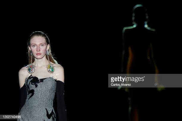 Models walk for Roberto Diz fashion show during the Mercedes Benz Fashion Week Autumn/Winter 202021 at Ifema on January 29 2020 in Madrid Spain