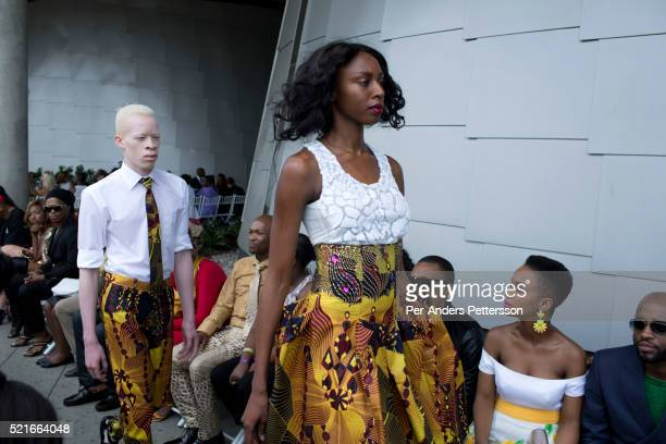 Models walk for the South African designer David Tlale while showing his latest collection at Mercedes Benz Africa fashion week Africa on November 1...