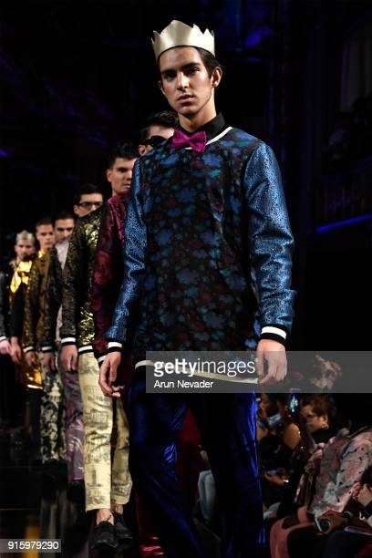 Models walk in the finale for the Kenneth Barlis presentation at New York Fashion Week Powered by Art Hearts Fashion NYFW at The Angel Orensanz...