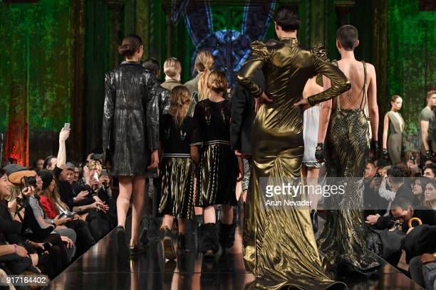 Models walk in the runway during the MisterTripleX presentation finale during New York Fashion Week Powered by Art Hearts Fashion NYFW at The Angel...