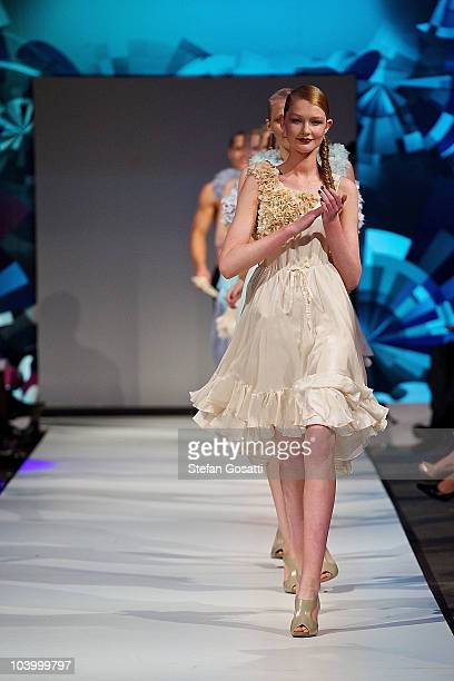 Models walk on the catwalk at the end of the WA Designers Collection 2 catwalk show as part of Perth Fashion Week 2010 at Fashion Paramount on...