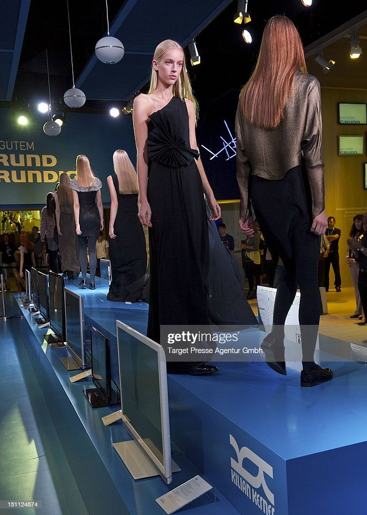 Models walk on the catwalk during the Kilian Kerner and Grundig fashion show at the 'Internationale Funkausstellung' on September 1, 2012 in Berlin, Germany.