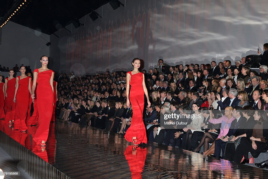 Models walk on the catwalk for final at the Valentino Fashion show, during Paris Fashion Week (Haute Couture) Spring-Summer 2008 on January 23, 2008 at Musee Rodin in Paris, France.
